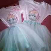 Одежда для девочки и ее мамы Family Look (футболка + юбка)