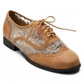 Коричневые летние туфли-оксфорды с кружевом 36р