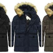 Мужская зимняя куртка парка натуральный пуховик