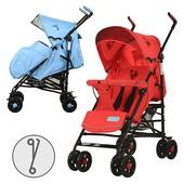 Коляска детская прогулочная, глуб.крыша, чехол, 2 цвета (роз-голуб,голуб-серый), 8 колеса 7
