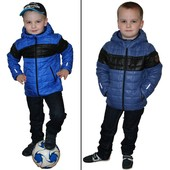 Демисезонная куртка для мальчика синяя, цвет небо