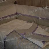 Детское постельное белье в кроватку из 9-и предметов-Горохи