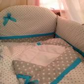 Детское постельное белье в кроватку из 8-и предметов-Горохи