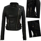 Женская демисезонная куртка косуха,куртка байкер,куртка из эко-кожи на косой замок