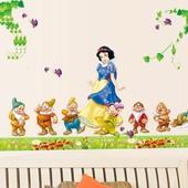 Интерьерная наклейка на стену Белоснежка и 7 гномов