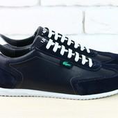 Спортивные туфли синие Lacoste, р. 40-45 натур замша, кожа, код nvk-1900, супер цена!