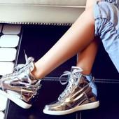 Кеды кроссовки лаковые.Серебро,золото,черные.New