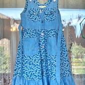Оригинальный джинсовый сарафан для девочки 7 -8 лет ( 122 -128)