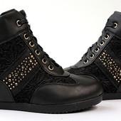 Ботиночки сникерсы черные Д246 р 39