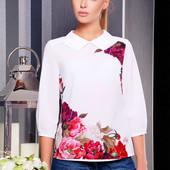 """Женская блуза """"Пионы Тамила2"""" с длинным рукавом и цветочным принтом"""