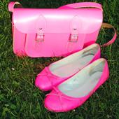 Ярко-розовые кожаные балетки Attizzare 37 размера, б/у