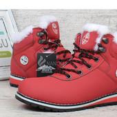 Ботинки зимние на цигейке Timberland Waterproof red красные