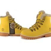 Ботинки кожа на цигейке Timberland 6 inch Yellow Winter размеры 38-39-40