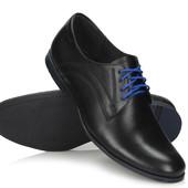 Мужские туфли из натуральной кожи,Польша, 028 черный костюм