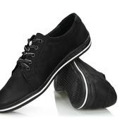 Мужские черные кроссовки из натуральной кожи,Польша