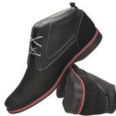Ботинки черные мужские из натуральной кожи , Польша