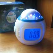 Детские музыкальные часы с будильником, проектор Звездное небо (есть опт для садиков и школ)