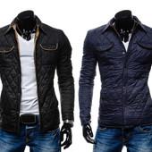 Креативная мужская стеганная демисезонная куртка с латами