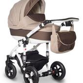 Универсальная коляска Bebe-Mobile Toscana 566G, коричневый (карбон) - бежевый