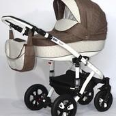 Универсальная коляска 2 в 1 Bebe-mobile Toscana 238W, коричневый - молочный (цветкики)