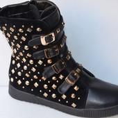 Ботинки зимние замшевые черные на шнурках и пряжках С188 р.40