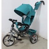 Детский трехколесный велосипед Tilly Trike T-343, зеленый/серый (Eva колеса)