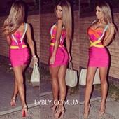 Яркое розовое бандажное платье Herve Leger c рукавами 055.Гарантия качества!!