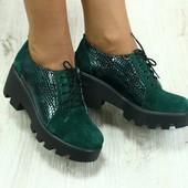 Ботинки, р. 36-40, нат. замша, черный, зеленый, код 1777ks, срочная продажа!