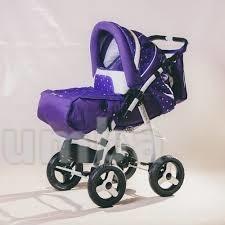 Коляска трансформер Adamex Young цвет: фиолетовый с сиреневым в мелкую точку фото №1
