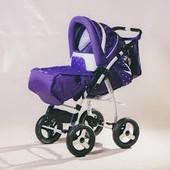 Коляска трансформер Adamex Young цвет: фиолетовый с сиреневым в мелкую точку