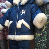 Детские зимние комбинезоны для мальчиков и девочек на овчине