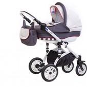 Детская коляска 2 в 1 Adamex Lara 04P, белый/графит (полоска)