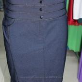 Синяя теплая юбка на флисе, р. 44-48 недорого