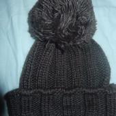 Зимняя шапка крупной вязки подросток-взрослая на голову 52-56 Новая