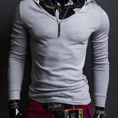 Стильная эластичная футболка с длинным рукавом и капюшоном Gray. Производства Украина