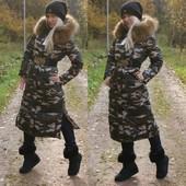 Стильное зимнее пальто Милитари