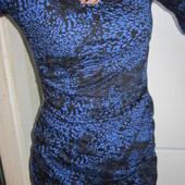 ❤❥Короткое облегающее чёрное платье с синим принтом ❤❥, размер S