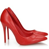 Красивые туфли на шпильке из матовой экокожи красного цвета