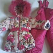 Детские зимние комбинезоны для девочек 1 5 лет Розочка