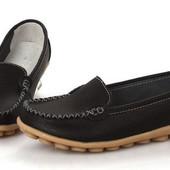Туфли женские черные натуральная кожа Т458