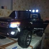 Детский электромобиль Ford Ranger f-150: 2 места, 90w, 9 км/ч мягкие колеса EVA .завод с ключа