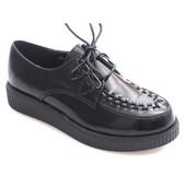 Лаковые криперсы черного цвета на шнуровке, удобные и качественные!