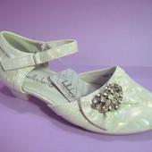 Распродажа! Праздничные туфельки серебристого цвета для девочек (23-32), код 030