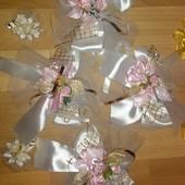 Украшения на ручки свадебного авто 4 шт+ Подарок при блице 2 цветочка-бутоньерки