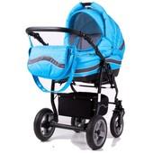 Универсальная коляска 2 в 1 Adbor Marsel серо-голубая