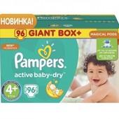 Подгузники Pampers Active Baby 4+ maxi plus (9-16кг) 96шт giant box plus