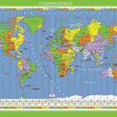 Світ. Годинні пояси. Навчальна карта (на картоні)