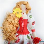 Кукла в стиле тильда Цветочница  Большая