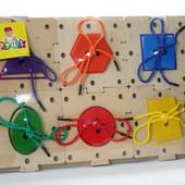Детская игрушка шнуровка геометрический пазл Руди