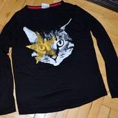 145 - 152 см Классная мягкая кофточка реглан фирменная 3Д принтом кошки подростку худенькой маме